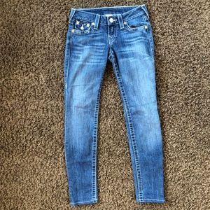 True Religion Skinny Jeans, Size 24, Low Rise.
